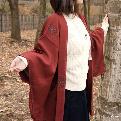 Red-brown japanese haori,Japanese kimono,womens haori