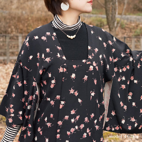 Black Michiyuki with flower design,Japanese kimono,womens haori