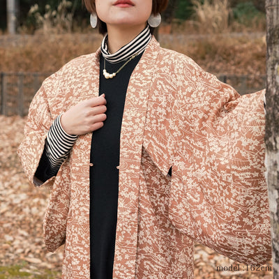 Light brown haori with white flowerplants pattern,Japanese kimono,womens haori Kimetsu no yaiba