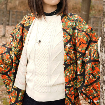 Orange haori with beautiful and colorful design,Japanese vintage kimono,womens haori Kimetsu no yaiba