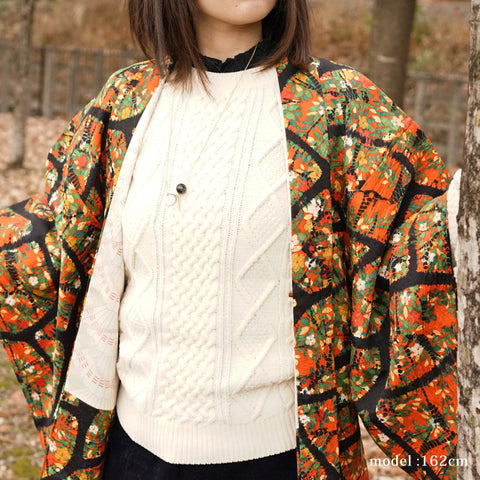 Orange haori with beautiful and colorful design,Japanese kimono,womens haori