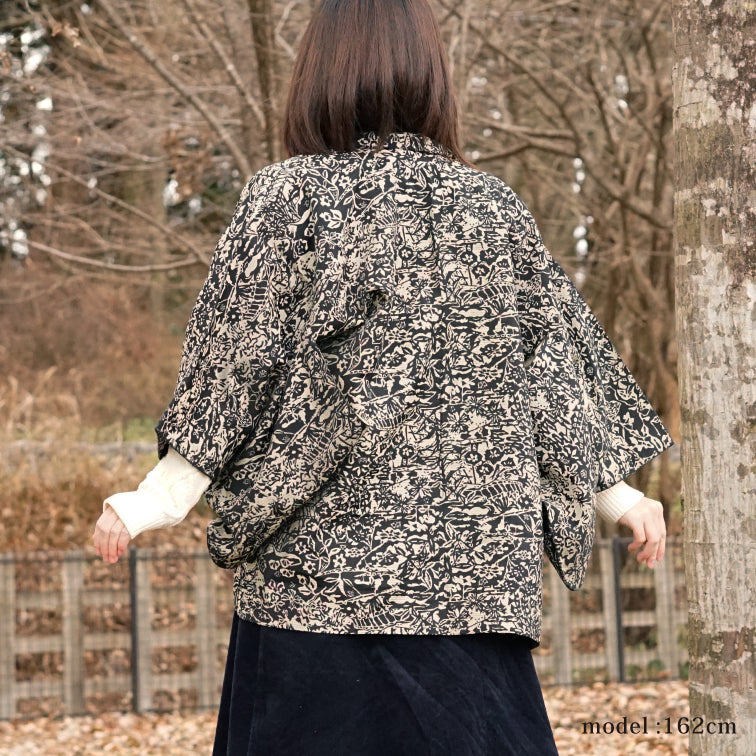 Black and white design haori,Japanese kimono,womens haori