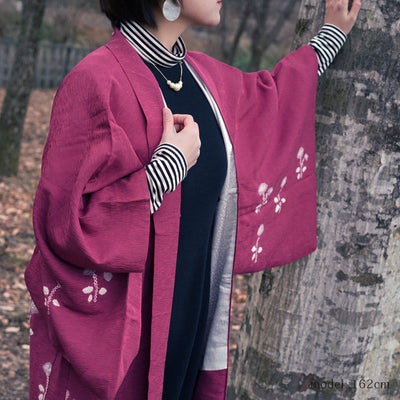 Pink haori with flower pattern,Japanese vintage kimono,womens haori