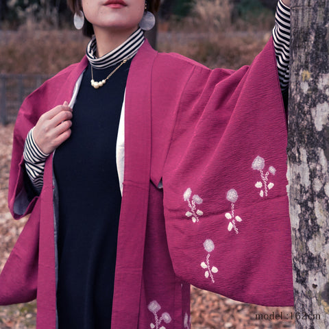 Pink haori with flower pattern,Japanese kimono,womens haori