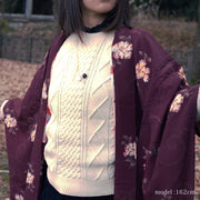 Red brown beautiful flower design haori,Japanese vintage kimono,womens haori kimetsu no yaiba samurai