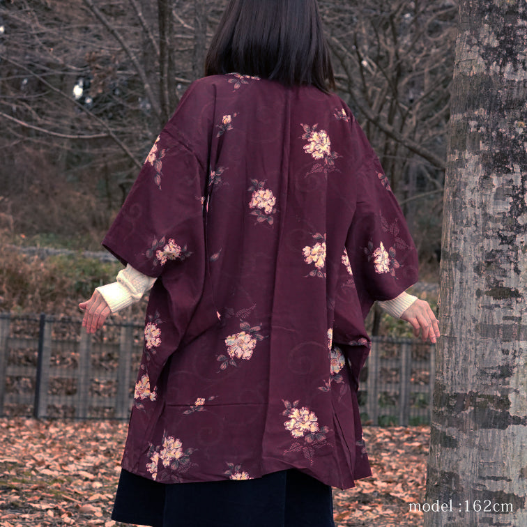 Red-brown beautiful flower design haori,Japanese kimono,womens haori