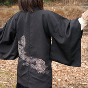 Black haori with beautiful back painting,Japanese vintage kimono,womens haori