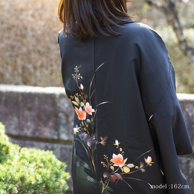 Black haori with beautiful flower painting,Japanese vintage kimono,womens haori