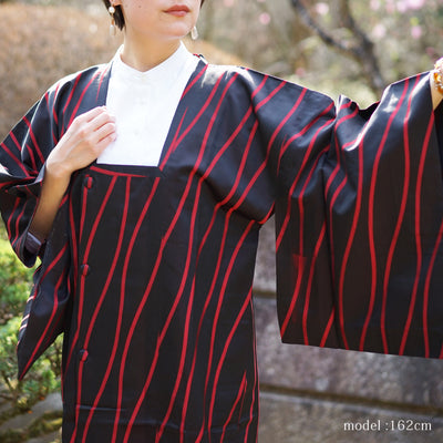 Long black and red michiyuki,Japanese kimono,womens haori Kimetsu no yaiba