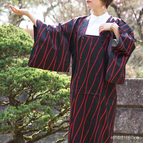 Long black and red Michiyuki,Japanese kimono,womens haori