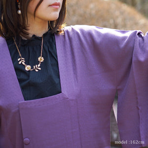 Soft purple michiyuki with flower crest pattern,Japanese vintage kimono,womens kimetsu no yaiba samurai