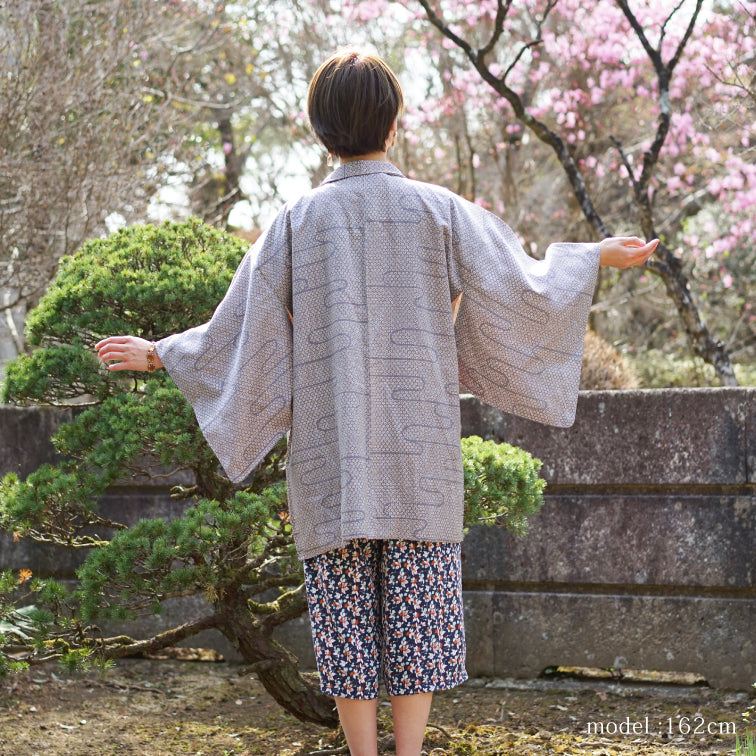 Soft purple haori with cute flower design,Japanese kimono,womens haori