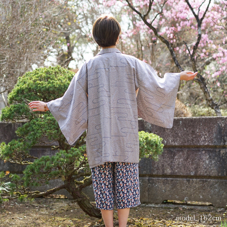 Soft purple haori with cute flower design,Japanese vintage kimono,womens haori