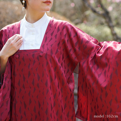 Dark red long michiyuki with lined pattern,Japanese vintage kimono,womens, female
