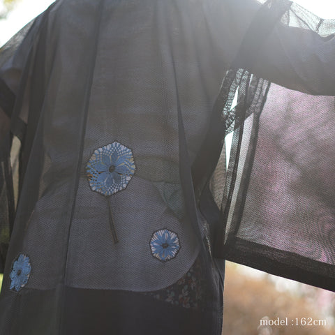 Black see-through haori with blue flower design,Japanese kimono,womens haori