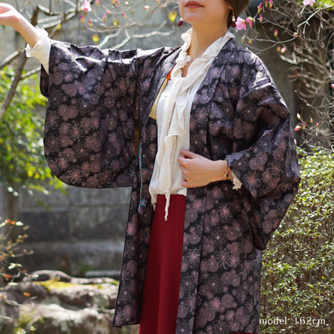 Black haori with pink flower design,Japanese kimono,womens haori