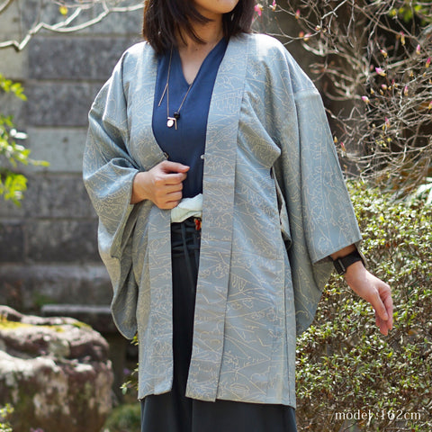 Blue gray japanese scene design haori,Japanese kimono,womens haori