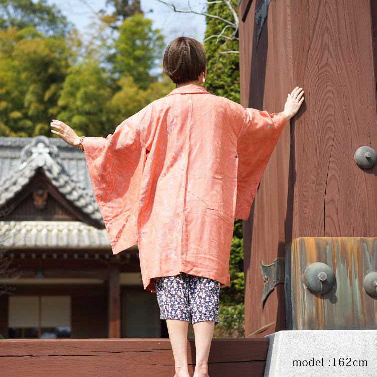 Neon pink orange long haori
