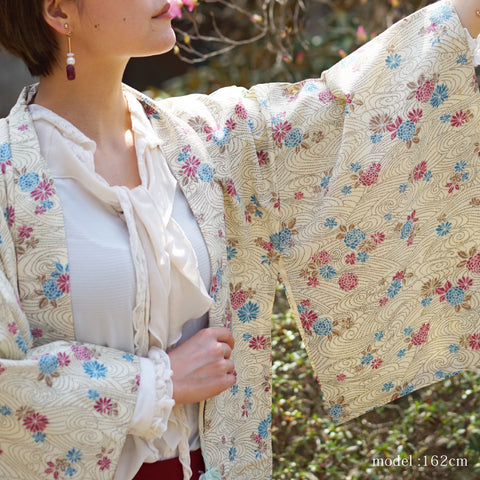 Pink and blue flower design milky white haori,Japanese kimono,womens haori