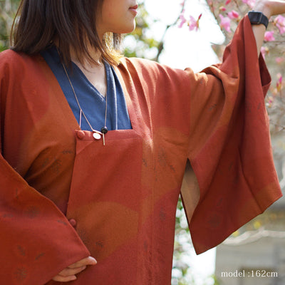Leaf design Dark orange brown michiyuki,Japanese vintage kimono,womens Kimetsu no yaiba