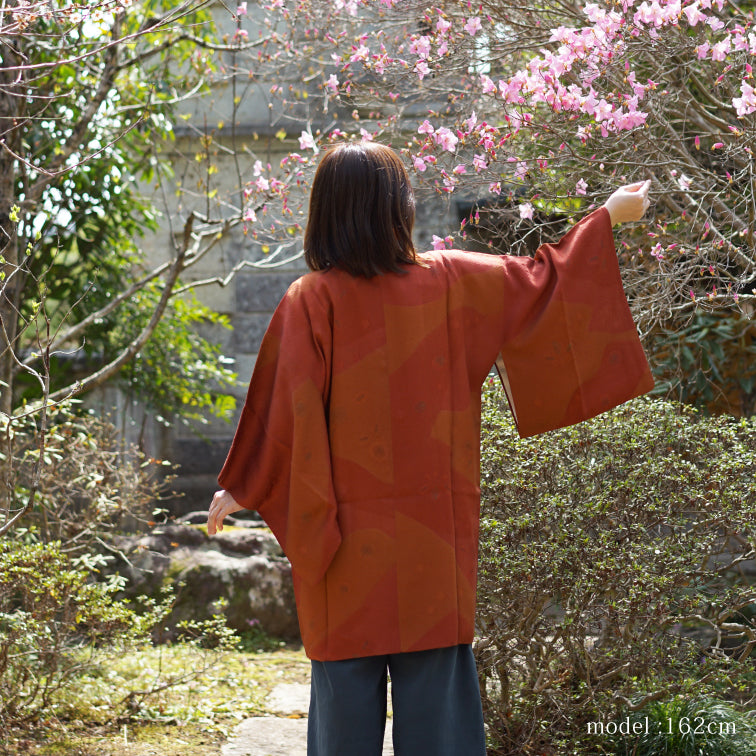 Leaf design Dark orange brown michiyuki,Japanese kimono,womens haori