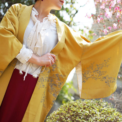 Flower design dark yellow haori,Japanese vintage kimono,womens haori Kimetsu no yaiba