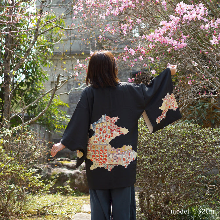 Black haori with japanese traditional motif design,Japanese kimono,womens haori