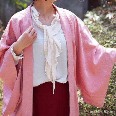Soft pink haori with maple and leaf design,Japanese vintage kimono,womens haori