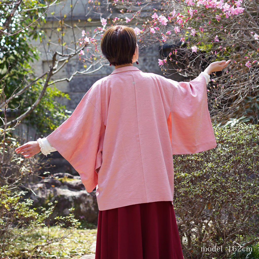 Soft pink haori with maple and leaf design,Japanese kimono,womens haori