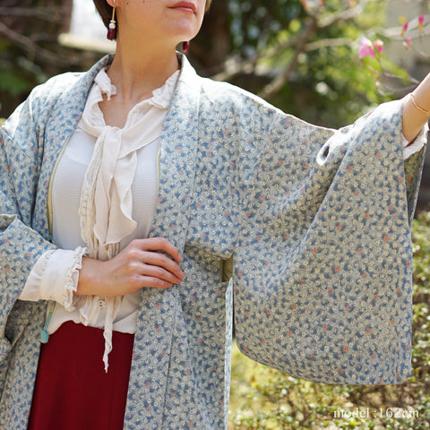 Maple design blue gray haori,Japanese kimono,womens haori