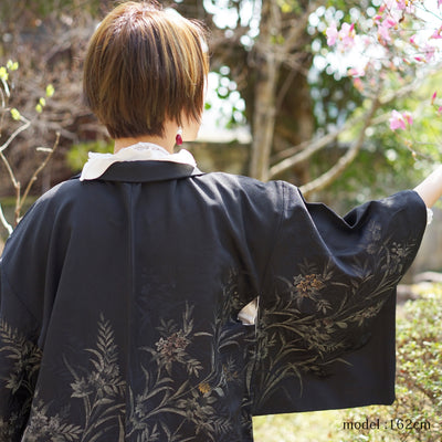 Gold flower and leaf design black haori,Japanese vintage kimono,womens haori Kimetsu no yaiba