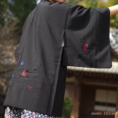 Black haori with red and blue flower embroidery,Japanese vintage kimono,womens haori