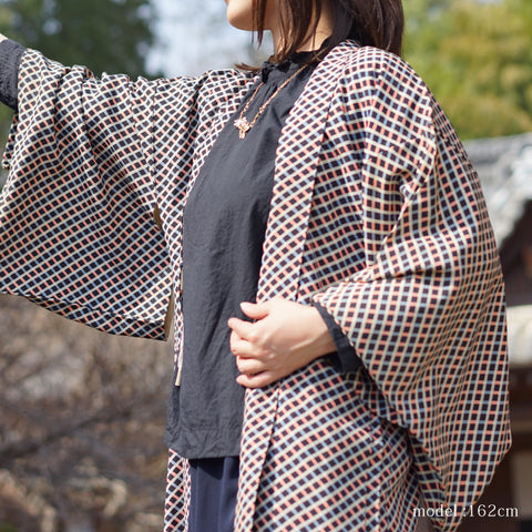 Pink-blue checkered black haori,Japanese kimono,womens haori