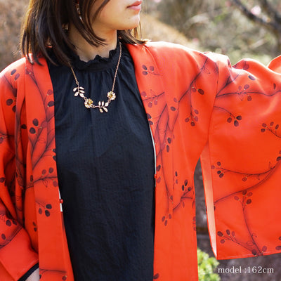 Red Orange haori with black flower design,Japanese vintage kimono,womens haori kimetsu no yaiba samurai
