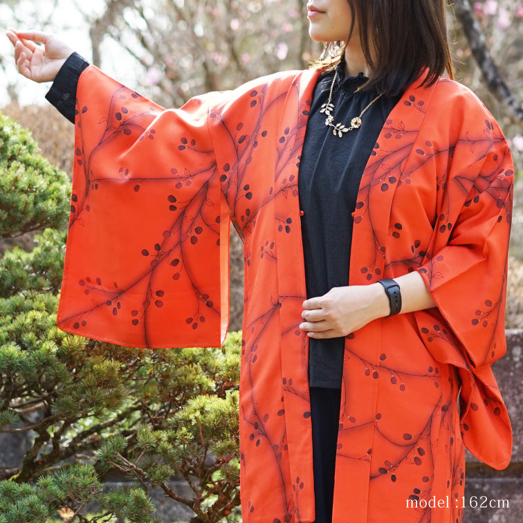 Red-Orange haori with black flower design