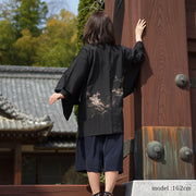 Black haori with flower emboidery design,Japanese vintage kimono,womens haori