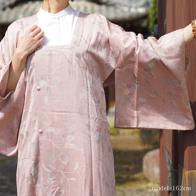 Pink elegant michiyuki with flower and leaves design,Japanese vintage kimono,womens Kimetsu no yaiba