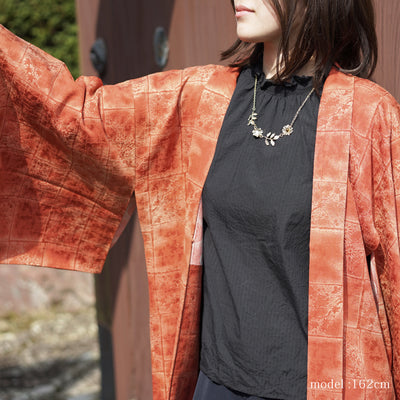 Dark orande haori with flower and maple leaf design,Japanese vintage kimono,womens haori