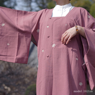 Embossed purple michiyuki with white flower design,Japanese vintage kimono,womens haori