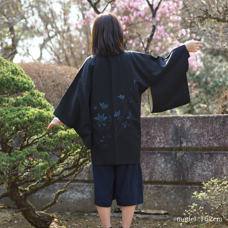 Black haori with blue flower design,Japanese kimono,womens haori