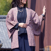 Purple haori with colorful pattern,Japanese vintage kimono,womens haori Kimetsu no yaiba samurai