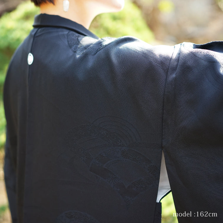 Black haori with embossed japanese fan design,Japanese kimono,womens haori