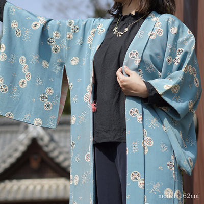 Soft blue haori with Japanese traditional motif,Japanese vintage kimono,womens haori kimetsu no yaiba samurai