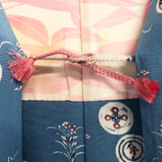 Soft blue haori with Japanese traditional motif,Japanese vintage kimono,womens haori