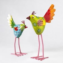 Set of 2 Hand-painted Leggy Birds