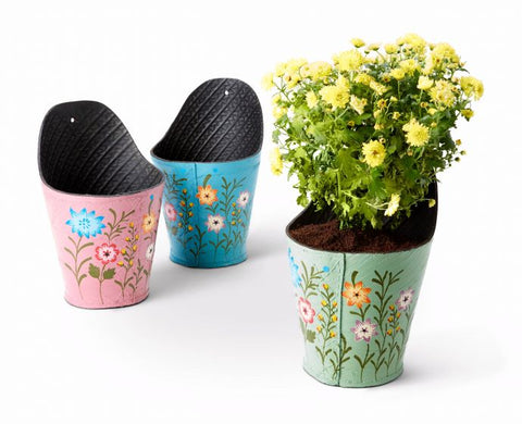 Meadow flower recycled tyre wall planters - Choice of 3 colours