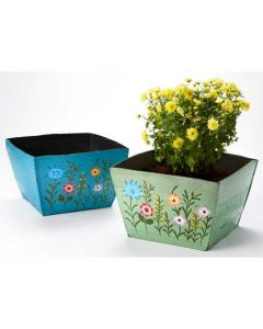 Meadow flower square recycled tyre planter - Choice of 2 colours