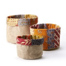 Reversible recycled sari baskets - Choice of 3 sizes