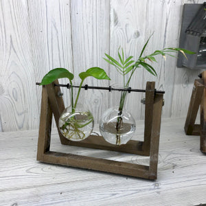 Hydroponic Pots - Wooden Frame Double Vase