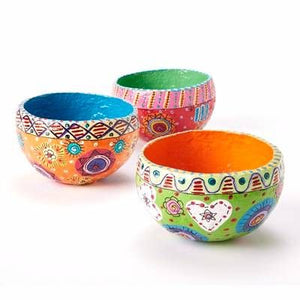 Vibrant Papier Mache Bowl - Choice of 3 colours